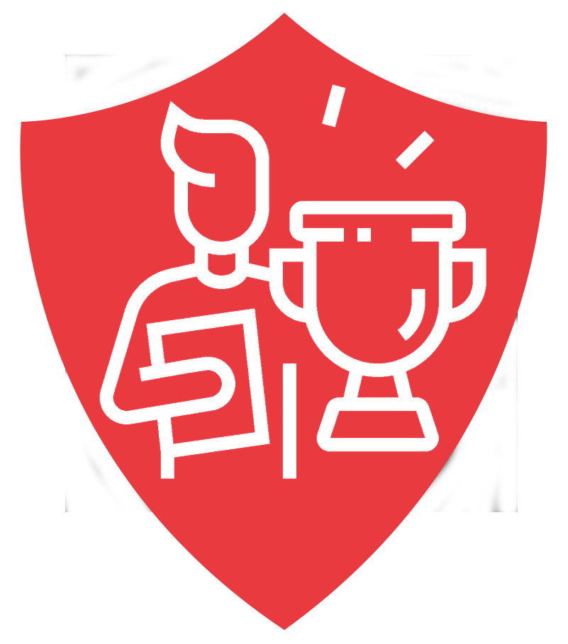 Icon showing a person holding a trophy