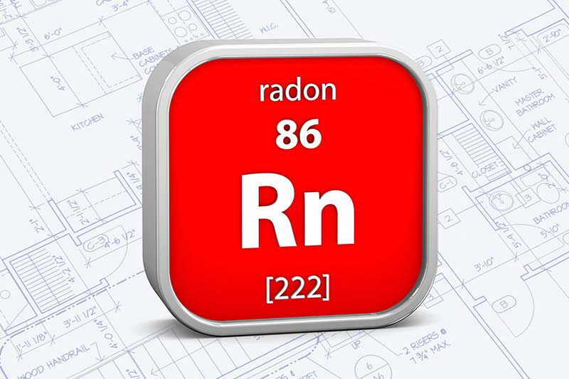 Radon material on the periodic table over an architectural plan background